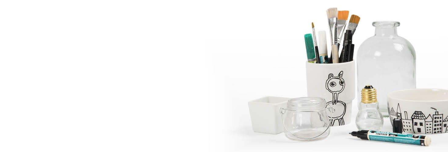 Decoración de porcelana y vidrio