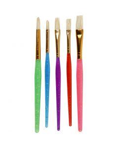 Pinceles para niños, medidas 8+12+18 , surtido de colores, 5 ud/ 1 paquete