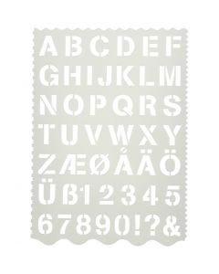 Plantilla de formas, Letras y números, A: 25 mm, 21x29 cm, 1 ud