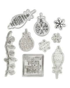 Sellos transparentes, grabado en relieve y troqueles, Navidad, 1 ud