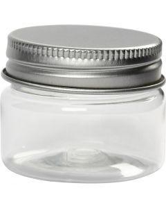 Bote de plástico con tapa enroscada, A: 35 mm, dia: 45 mm, 10 ud/ 1 paquete