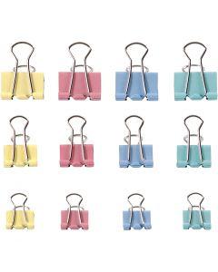 Clips plegables, A: 15-19-25 mm, colores pastel, 30 stdas/ 1 paquete