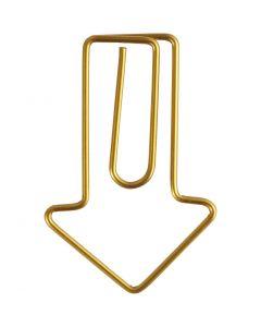 Clips, Flecha, medidas 40x25 mm, dorado, 6 ud/ 1 paquete