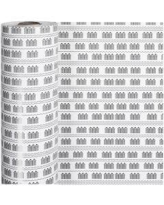 Papel de regalo, bathhouse, A: 57 cm, 80 gr, negro, blanco, 150 m/ 1 rollo