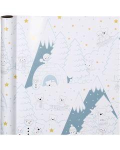 Papel de regalo, Arctic Christmas, A: 70 cm, 80 gr, 4 m/ 1 rollo
