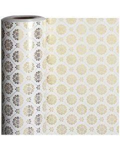 Papel de regalo, tiles, A: 50 cm, 80 gr, dorado, blanco, 100 m/ 1 rollo