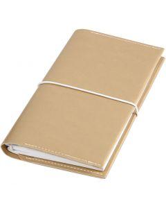 Agenda, medidas 10x18x1,5 cm, Cierre con goma elástica, dorado, 1 ud