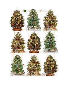 Cromos Vintage, Árbol de navidad, 16,5x23,5 cm, 3 hoja/ 1 paquete