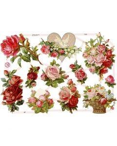 Cromos Vintage, rosas, 16,5x23,5 cm, 3 hoja/ 1 paquete