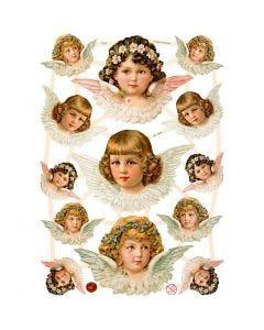 Cromos Vintage, Angelitas, 16,5x23,5 cm, 3 hoja/ 1 paquete