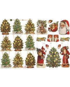 Cromos Vintage, Papá Noel y árbol de Navidad, 16,5x23,5 cm, 2 hoja/ 1 paquete