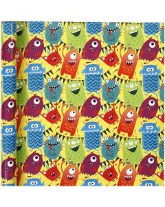 Papel de regalo, monster mix, A: 70 cm, 80 gr, 4 m/ 1 rollo