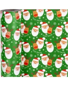 Papel de regalo, Santa with reindeer, A: 57 cm, 80 gr, 150 m/ 1 rollo