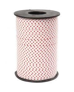 Cinta de plástico decorada, puntos rojos, A: 10 mm, 250 m/ 1 rollo