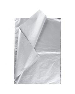 Papel de seda, 50x70 cm, 14 gr, plata, 6 hoja/ 1 paquete