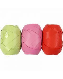 Cinta rizada, A: 10 mm, verde lima, rosa, rojo, 3x10 m/ 1 paquete