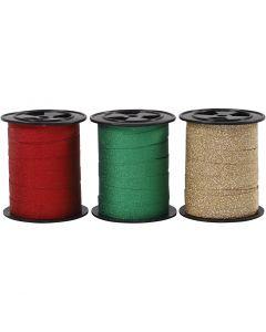Cinta para rizar, A: 10 mm, purpurina, dorado, verde, rojo, 3x15 m/ 1 paquete