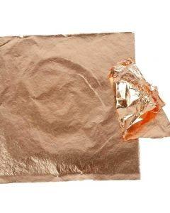Hoja metálica de imitación, 16x16 cm, cobre, 25 hoja/ 1 paquete, 0,625 m2