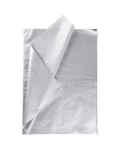 Papel de seda, 50x70 cm, 14 gr, plata, 25 hoja/ 1 paquete