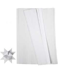 Tiras de papel para estrellas, L. 45 cm, dia: 6,5 cm, A: 15 mm, blanco, 500 tiras/ 1 paquete
