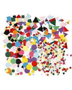 Figuras de cartulina para mosaico, medidas 10+15+20 mm, surtido de colores, 8x180 paquete/ 1 paquete