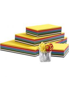 Set de cartulinas y tijeras para niños, A3,A4,A5,A6, 180 gr, surtido de colores, 1 set
