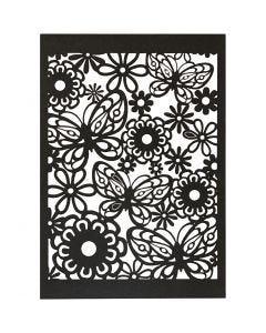 Cartulina con dibujos de encaje, 10,5x15 cm, 200 gr, negro, 10 ud/ 1 paquete