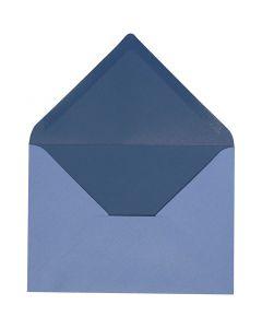 Sobre, medida sobre 11,5x16 cm, 100 gr, azul claro/oscuro, 10 ud/ 1 paquete