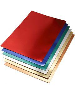 Cartulina metalizada, A2, 420x600 mm, 280 gr, surtido de colores, 30 hojas stdas/ 1 paquete