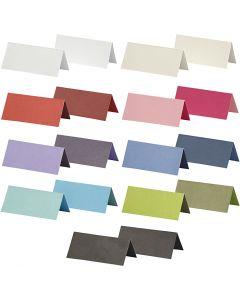 Tarjetas identificativas de lugar, medidas 9x4 cm, El contenido puede variar , 250 gr, surtido de colores, 30 paquete/ 1 paquete