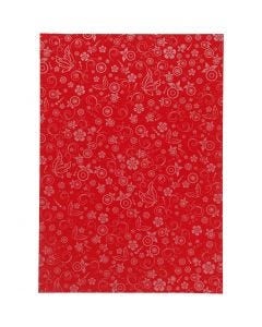 Papel , A4, 210x297 mm, 80 gr, rojo, 20 hoja/ 1 paquete