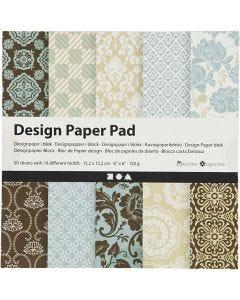 Bloc de papel de diseño, 15,2x15,2 cm, 120 gr, azul claro, marrón, 50 hoja/ 1 paquete