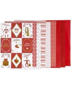 Bloc de papel de diseño, medidas 21x30 cm, 120+128 gr, rojo, blanco, 24 hoja/ 1 paquete