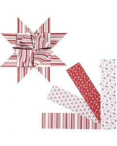 Tiras de papel para estrella, L. 100 cm, dia: 18 cm, A: 40 mm, rojo, blanco, 40 tiras/ 1 paquete