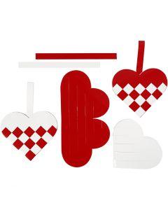Corazones trenzados, medidas 13,5x12,5 cm, rojo, blanco, 8 set/ 1 paquete