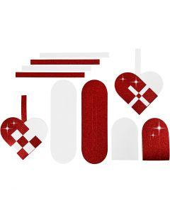 Corazones trenzados, medidas 14,5x10 cm, 120+128 gr, rojo, blanco, 8 set/ 1 paquete