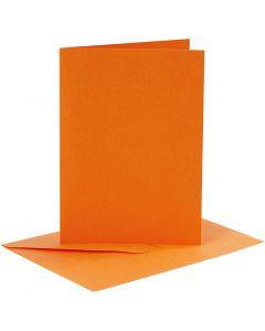 Postales y sobres, medida tarjeta 10,5x15 cm, medida sobre 11,5x16,5 cm, naranja, 6 set/ 1 paquete