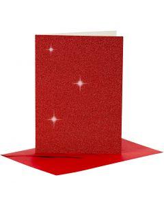 Postales y sobres, medida tarjeta 10,5x15 cm, medida sobre 11,5x16,5 cm, purpurina, rojo, 4 set/ 1 paquete