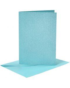Postales y sobres, medida tarjeta 10,5x15 cm, medida sobre 11,5x16,5 cm, perlado, azul, 4 set/ 1 paquete