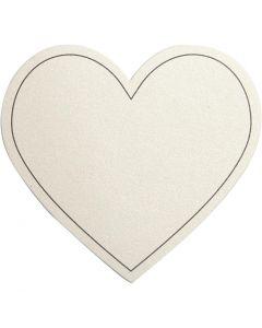 Corazón, medidas 75x69 mm, 120 gr, blanquecino, 10 ud/ 1 paquete