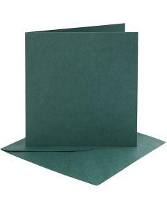 Tarjetas y sobres, medida tarjeta 15,2x15,2 cm, medida sobre 16x16 cm, 230 gr, verde oscuro, 4 set/ 1 paquete