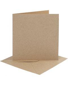 Tarjetas y sobres, medida tarjeta 15,2x15,2 cm, medida sobre 16x16 cm, 230 gr, natural, 4 set/ 1 paquete
