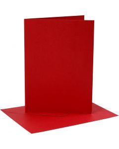 Tarjetas y sobres, medida tarjeta 12,7x17,8 cm, medida sobre 13,3x18,5 cm, 230 gr, rojo, 4 set/ 1 paquete