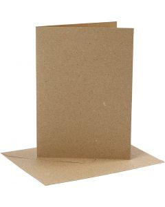 Tarjetas y sobres, medida tarjeta 12,7x17,8 cm, medida sobre 13,3x18,5 cm, 230 gr, natural, 4 set/ 1 paquete