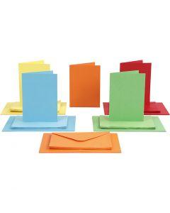 Postales y sobres, medida tarjeta 10,5x15 cm, medida sobre 11,5x16,5 cm, surtido de colores, 50 set/ 1 paquete