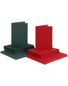 Postales y sobres, medida tarjeta 10,5x15 cm, medida sobre 11,5x16,5 cm, verde, rojo, 50 set/ 1 paquete