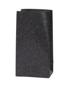 Bolsas de papel, A: 17 cm, medidas 6x9 cm, 170 gr, negro, 8 ud/ 1 paquete