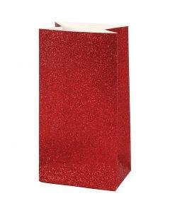 Bolsas de papel, A: 17 cm, medidas 6x9 cm, 200 gr, rojo, 8 ud/ 1 paquete