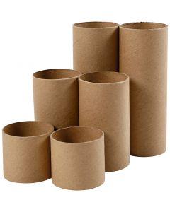 Tubo de papel, L. 4,7+9,3+14 cm, dia: 5 cm, 6 ud/ 1 paquete