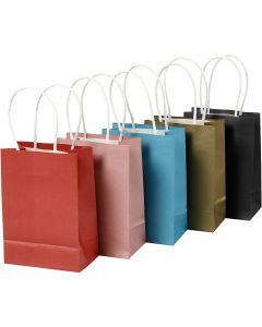 Bolsas de papel, A: 17 cm, A: 12x7 cm, 125 gr, surtido de colores, 5x2 ud/ 1 paquete
